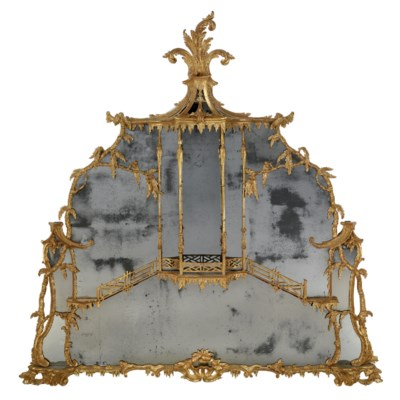 A GEORGE II GILTWOOD OVERMANTE