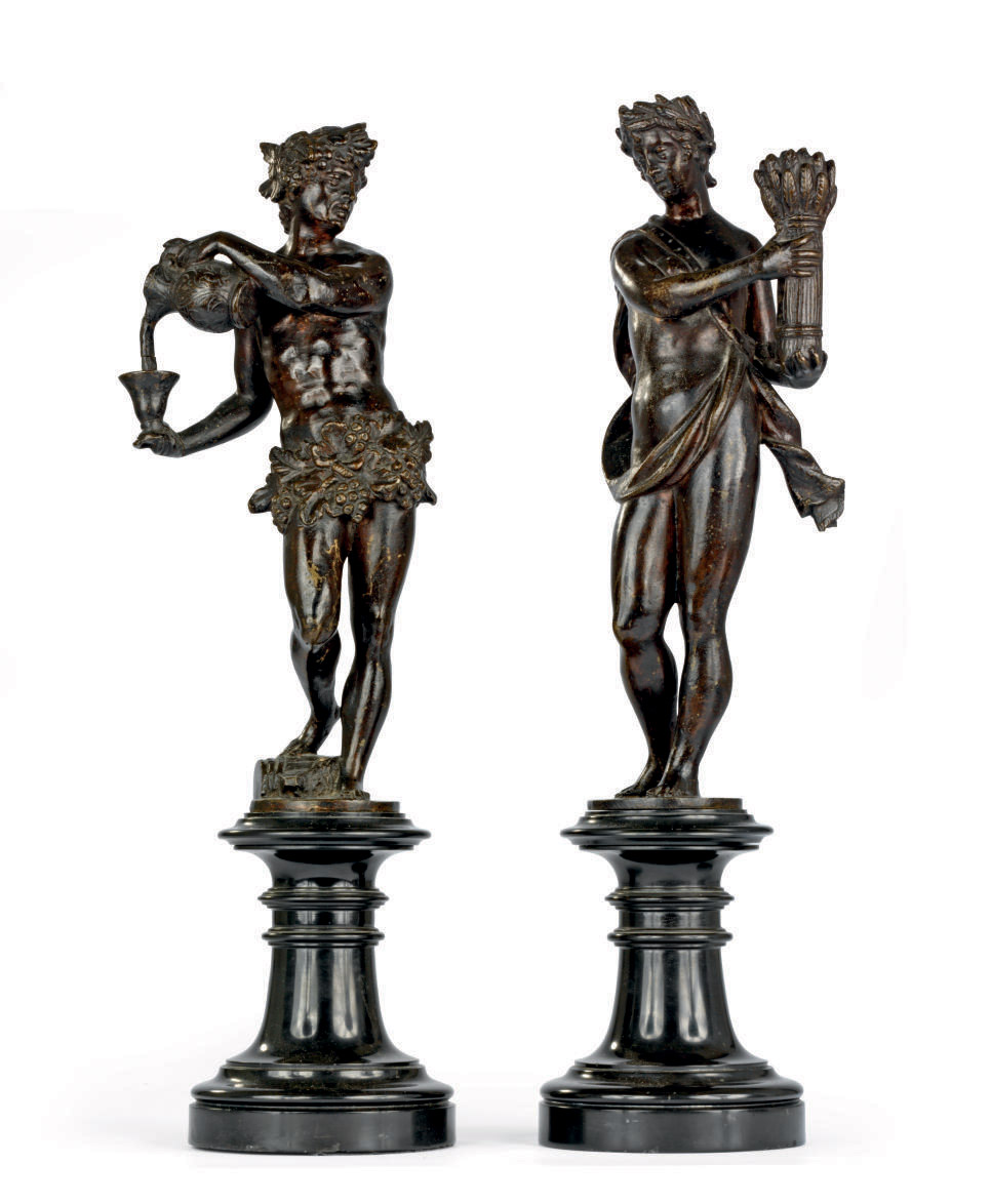 A PAIR OF BRONZE ALLEGORICAL FIGURES EMBLEMATIC OF SUMMER AND AUTUMN