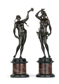 A PAIR OF BRONZE ALLEGORICAL FIGURES EMBLEMATIC OF SPRING AND SUMMER