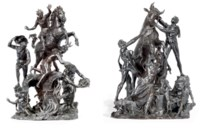 A PAIR OF BRONZE GROUPS OF THE HEROISM OF MARCUS CURTIUS AND THE FARNESE BULL