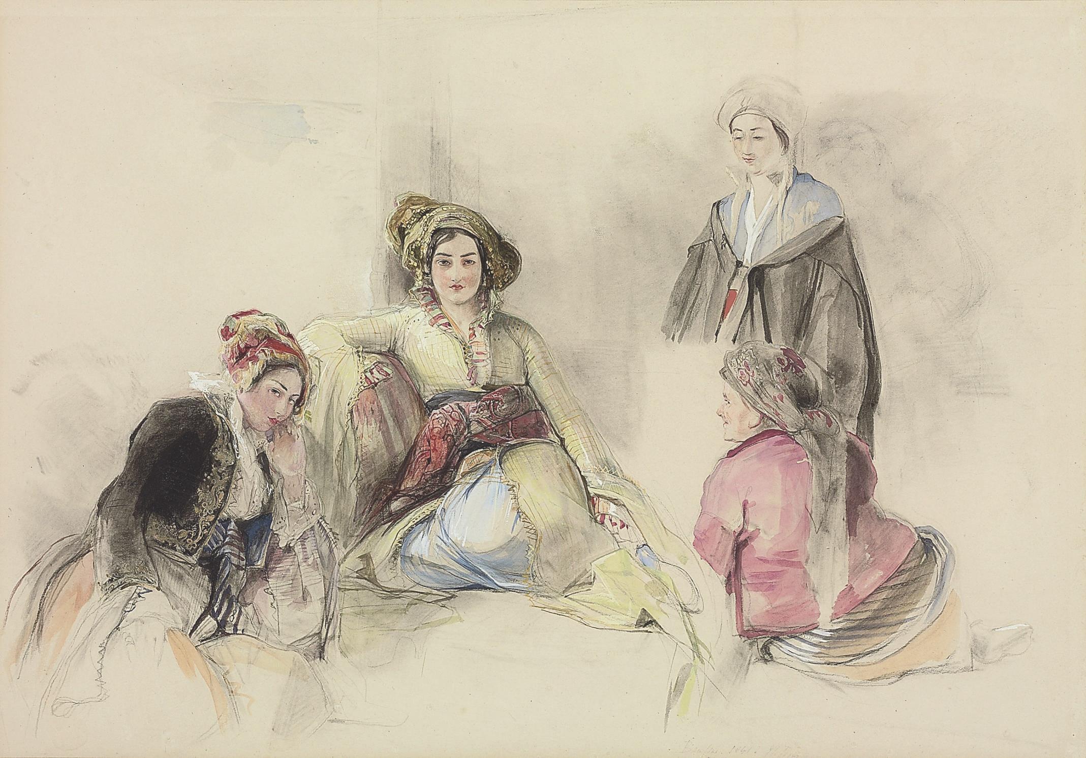 Four women in an  interior, Brussa, Turkey