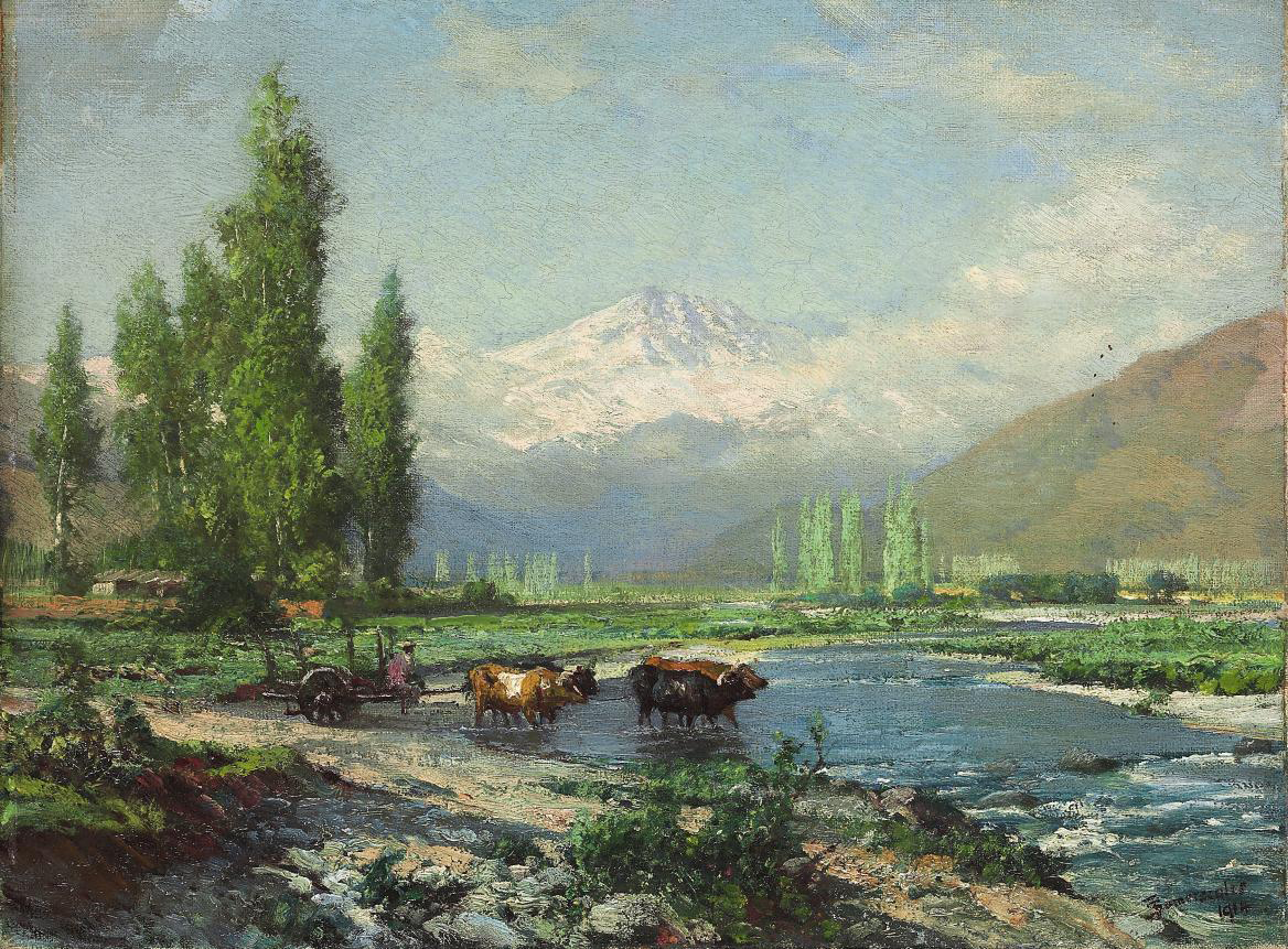 A farmer and oxen fording the Aconcagua river, the Andes beyond