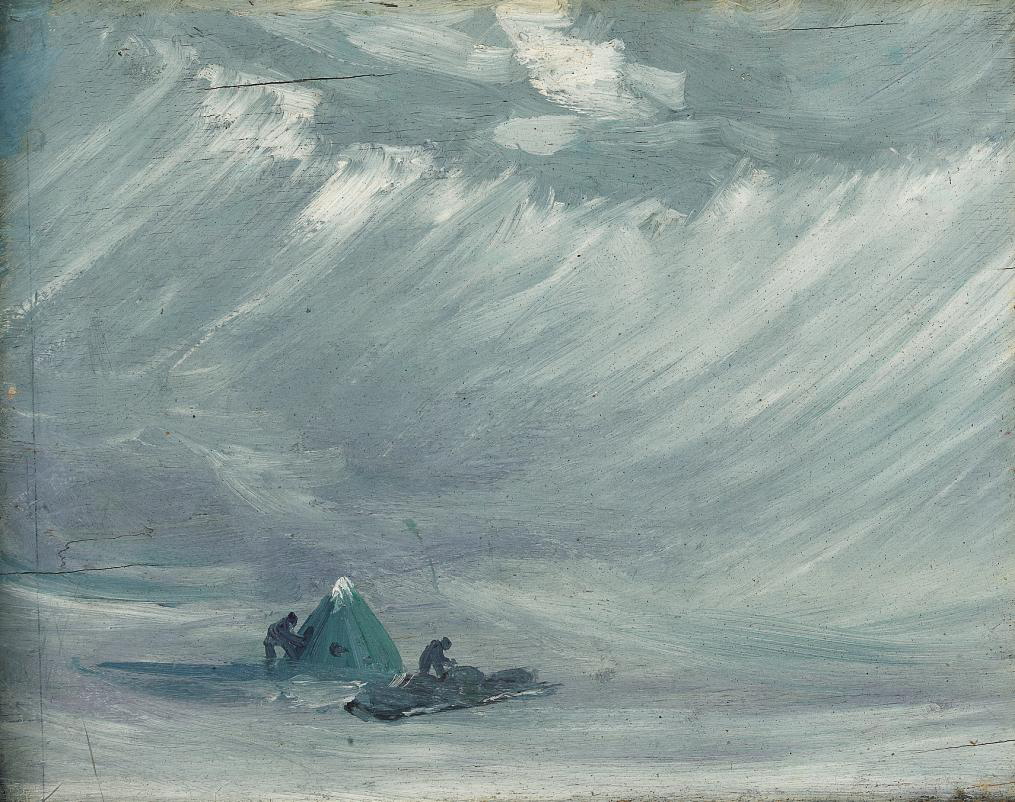 Sledging camp in a blizzard