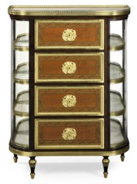 A FRENCH ORMOLU-MOUNTED MAHOGANY, CITRONNIER AND GREEN-STAINED MARQUETRY SEMAINIER