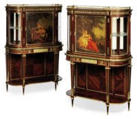 A PAIR OF FRENCH ORMOLU-MOUNTED MAHOGANY, KINGWOOD AND VERNIS MARTIN VITRINE CABINETS-ON-STANDS
