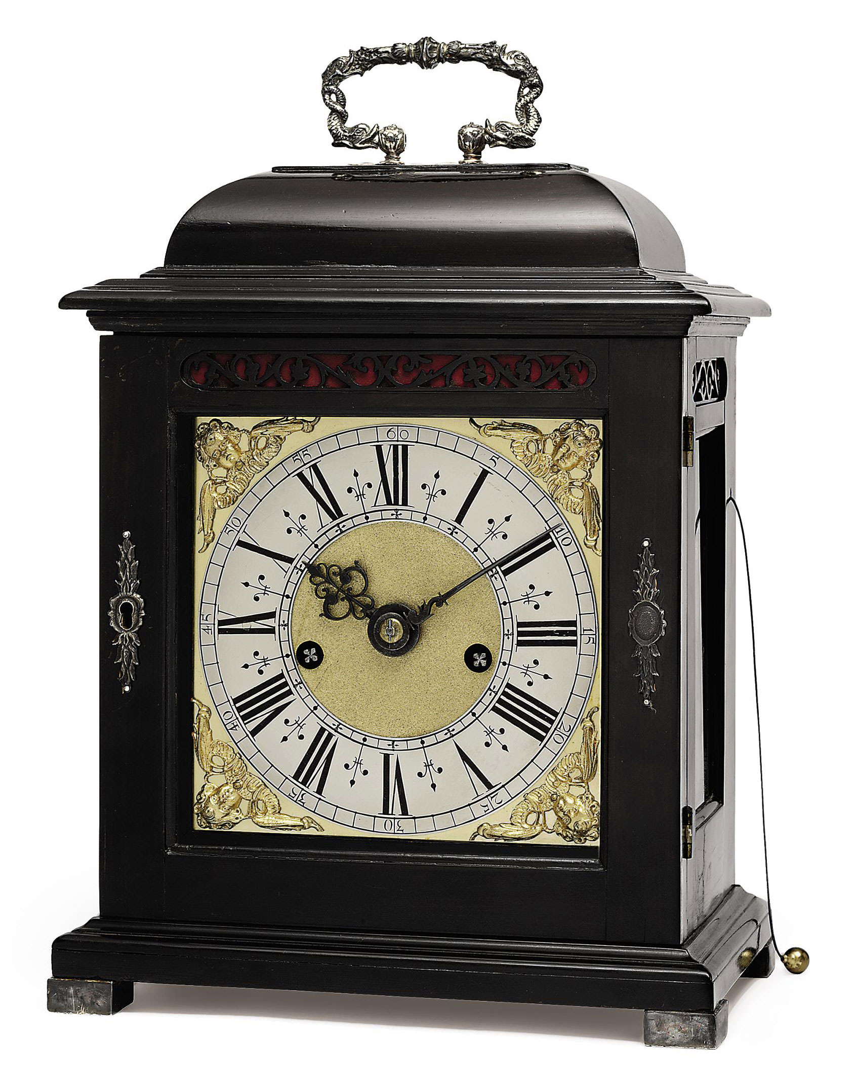 A WILLIAM AND MARY EBONISED STRIKING EIGHT DAY TABLE CLOCK WITH PULL QUARTER REPEAT
