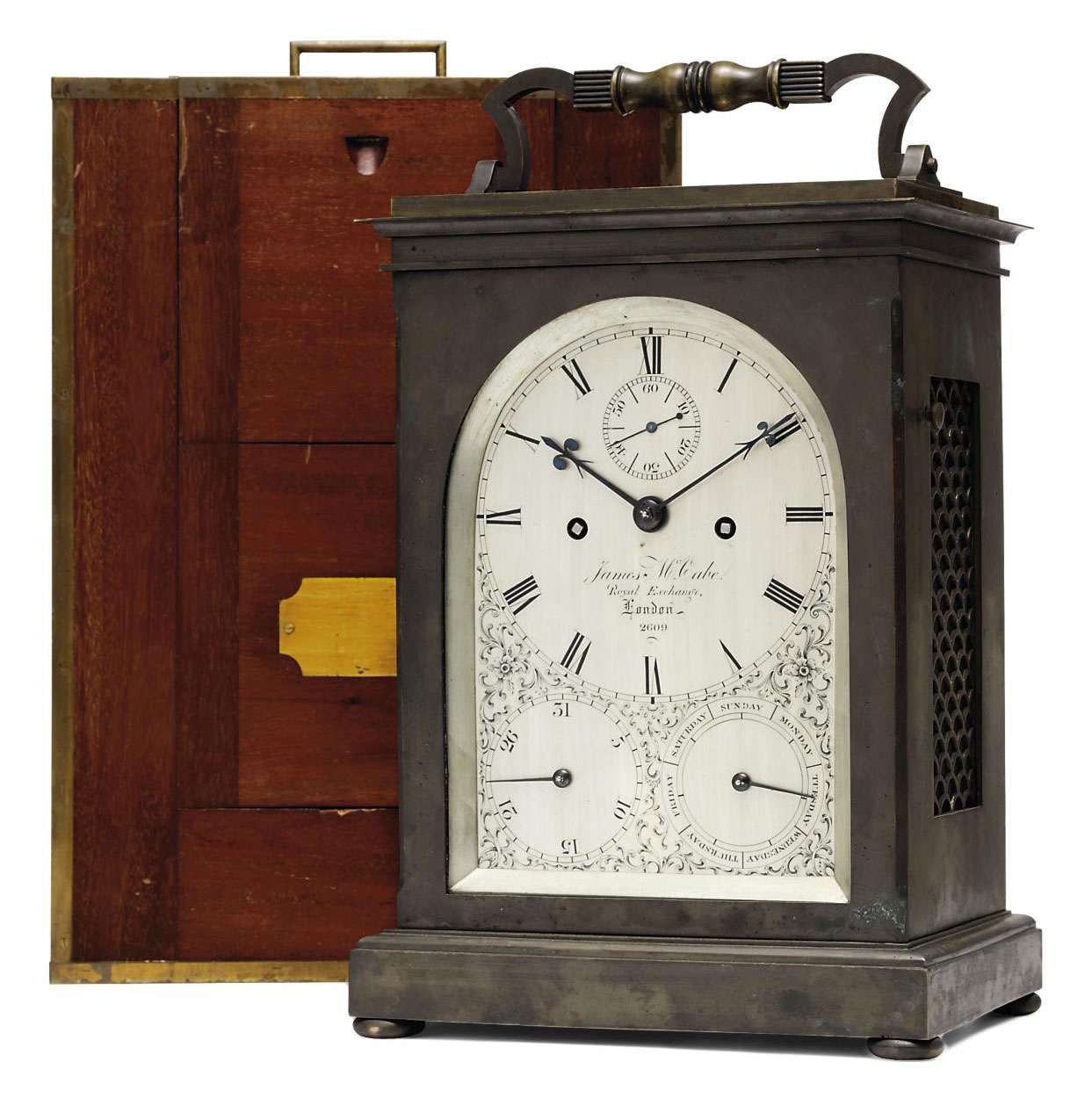 A VICTORIAN GIANT PATINATED-BRASS STRIKING AND REPEATING EIGHT DAY CARRIAGE CLOCK WITH CALENDAR
