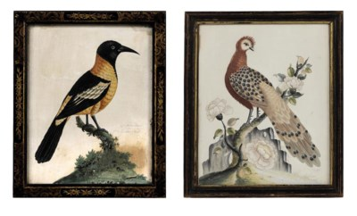 A GEORGE II EMBOSSED BIRD PICT