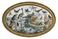 A GEORGE II EMBOSSED OVAL BIRD PICTURE