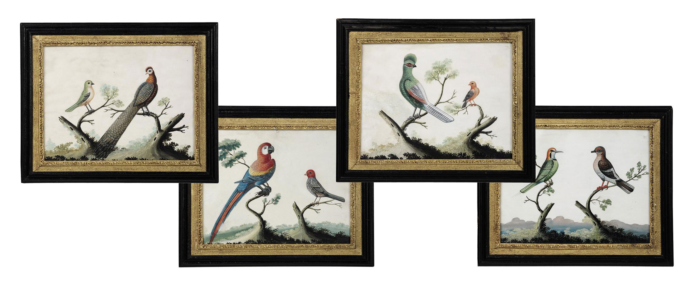 A SET OF FOUR GEORGE III EMBOSSED BIRD PICTURES