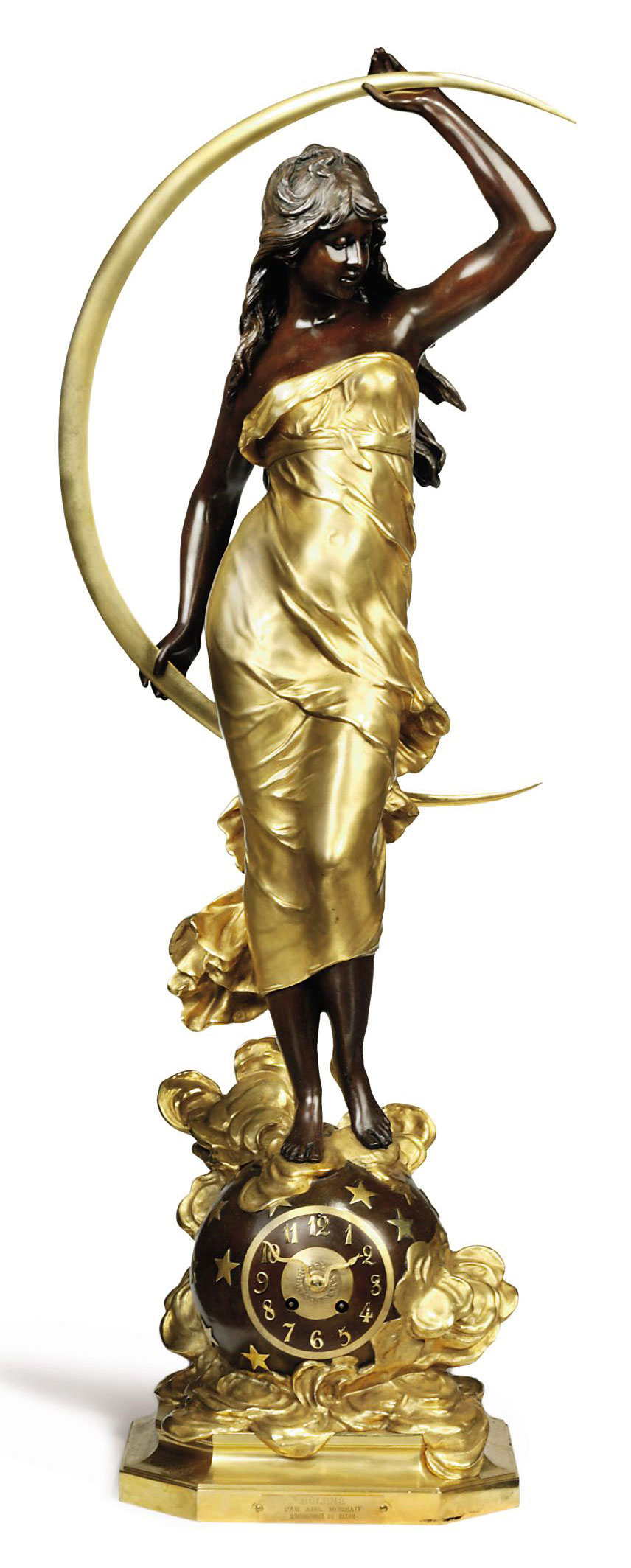 A FRENCH GILT AND PATINATED BRONZE FIGURAL CLOCK ENTITLED 'SELENE'