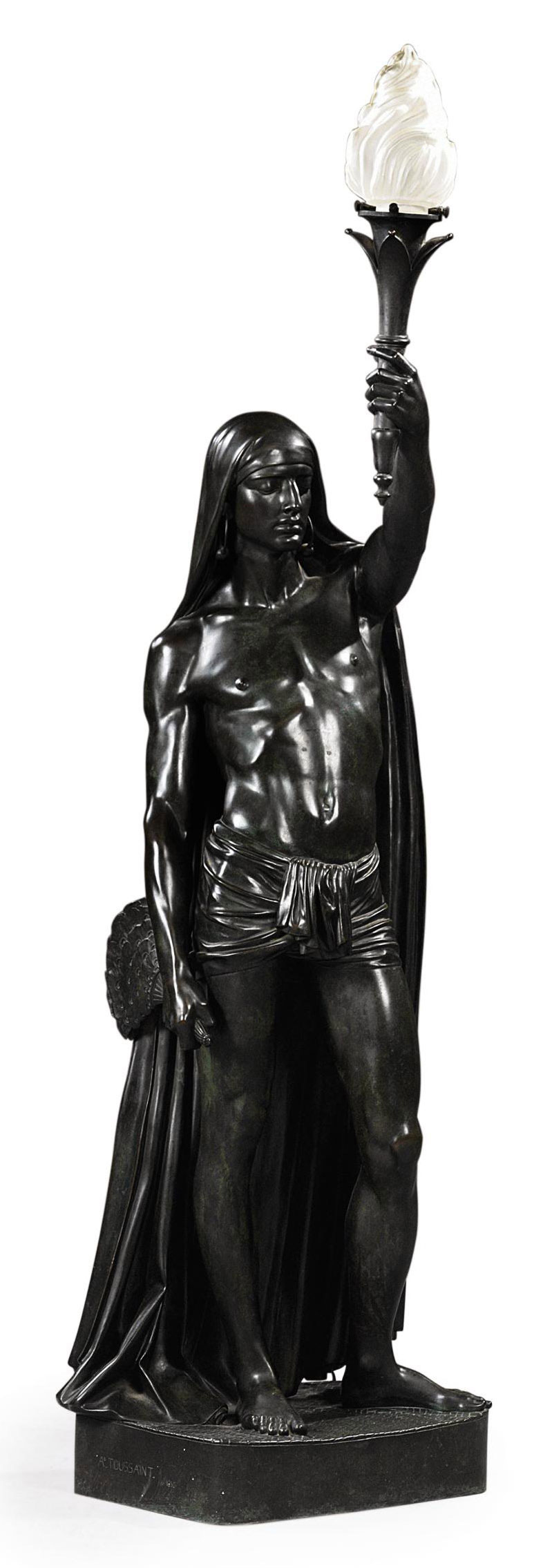 A FRENCH BRONZE FIGURAL TORCHERE