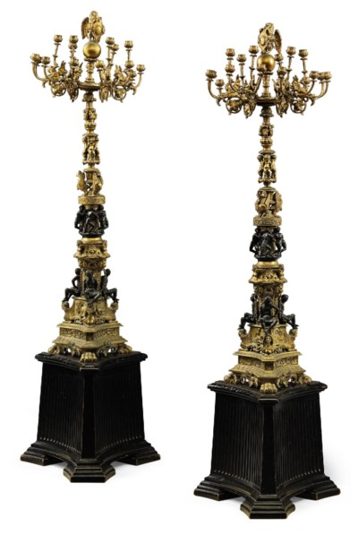 A PAIR OF VENETIAN GILT AND PA