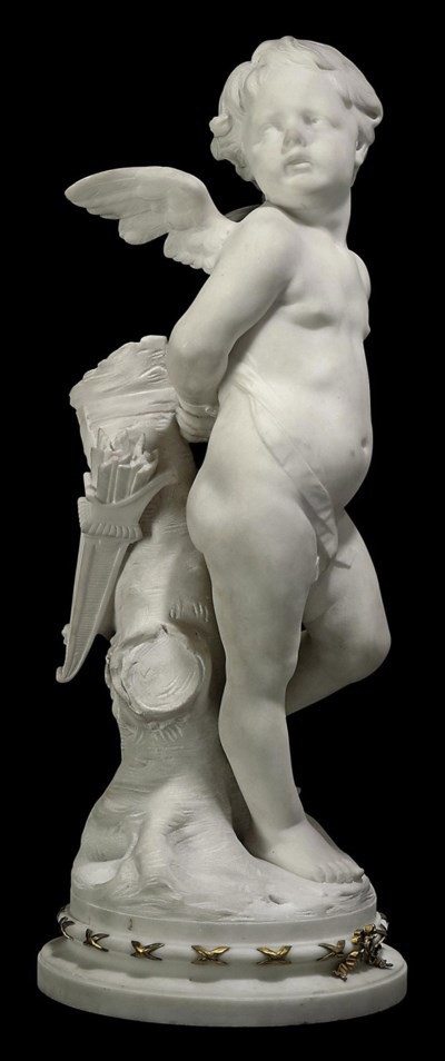 A FRENCH MARBLE FIGURE ENTITLE