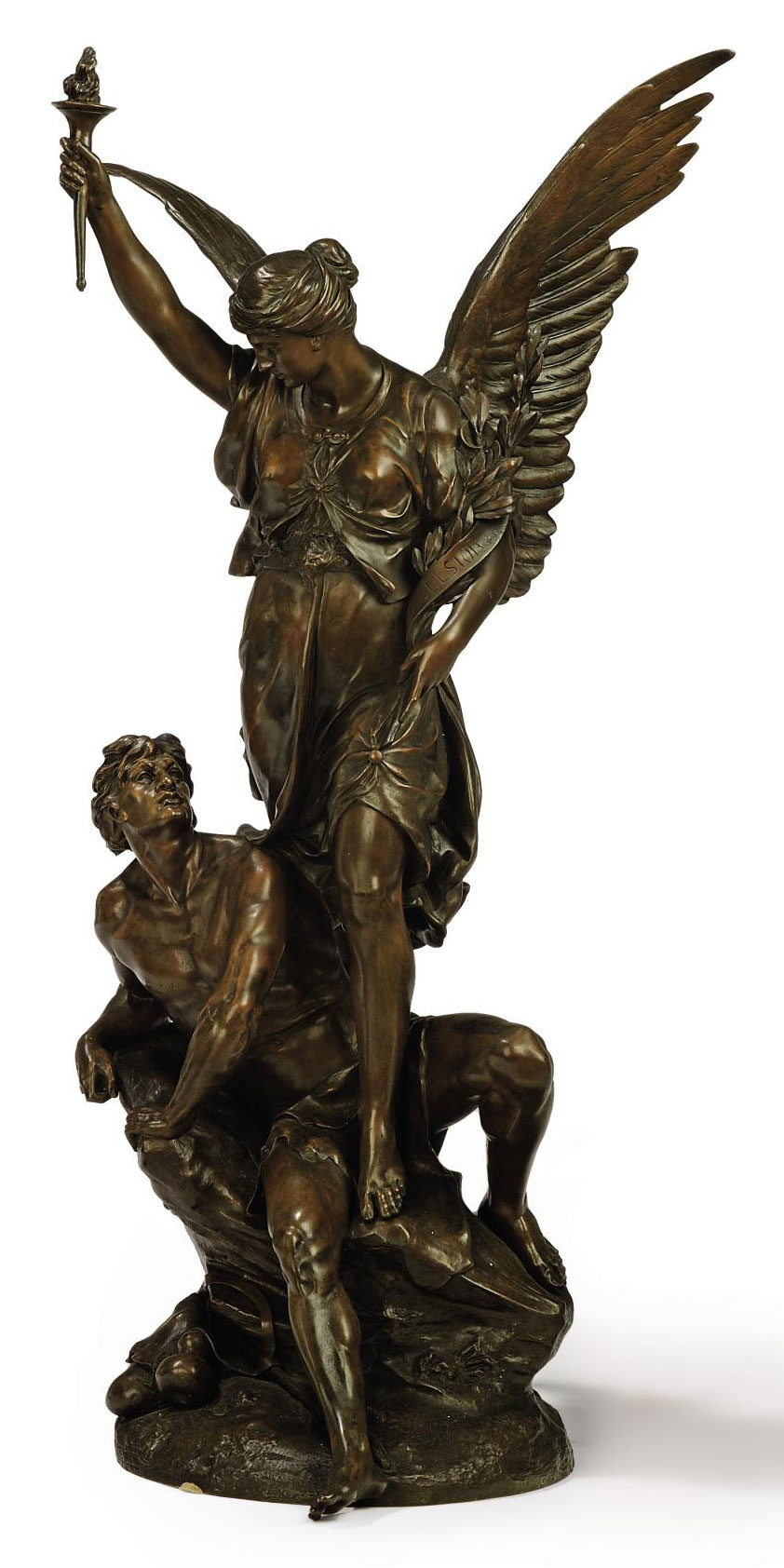 A FRENCH BRONZE GROUP ENTITLED 'EXCELSIOR'