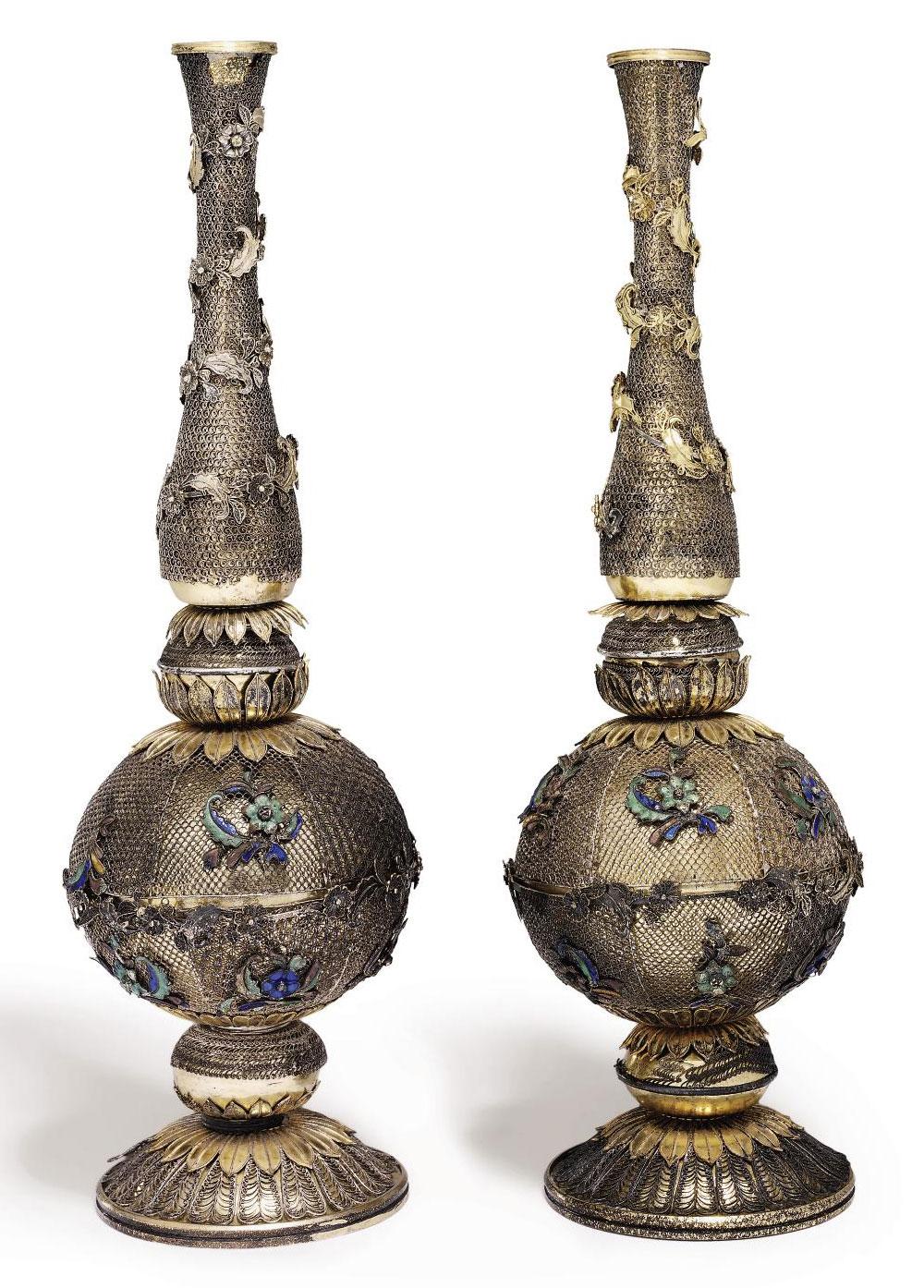 a pair of enamelled silver gilt and filigree sprinklers made for the middle eastern market. Black Bedroom Furniture Sets. Home Design Ideas