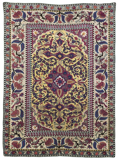 A SILK EMBROIDERED CAUCASIAN R