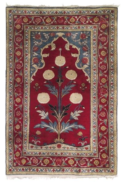 A SILK AGRA PRAYER RUG
