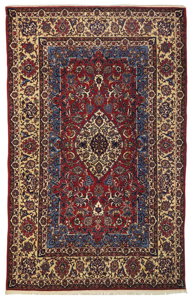 A PART-SILK ISFAHAN RUG