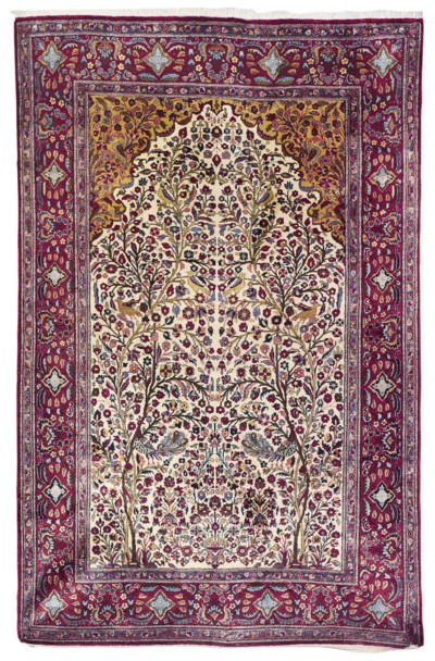 A PAIR OF SILK KASHAN PRAYER R