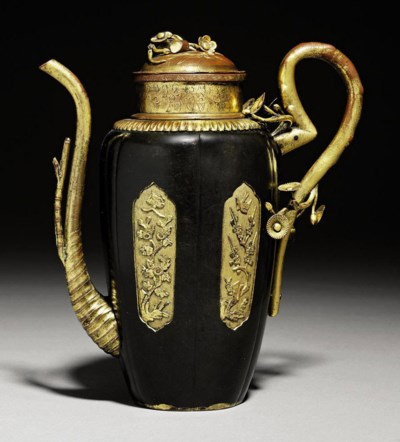 A GILT-COPPER EWER AND COVER