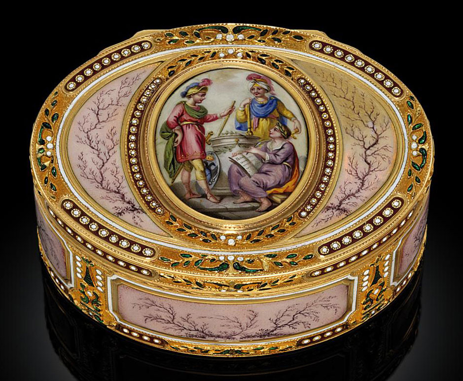 a continental enamelled gold snuff box set with an enamel plaque probably hanau circa 1780. Black Bedroom Furniture Sets. Home Design Ideas