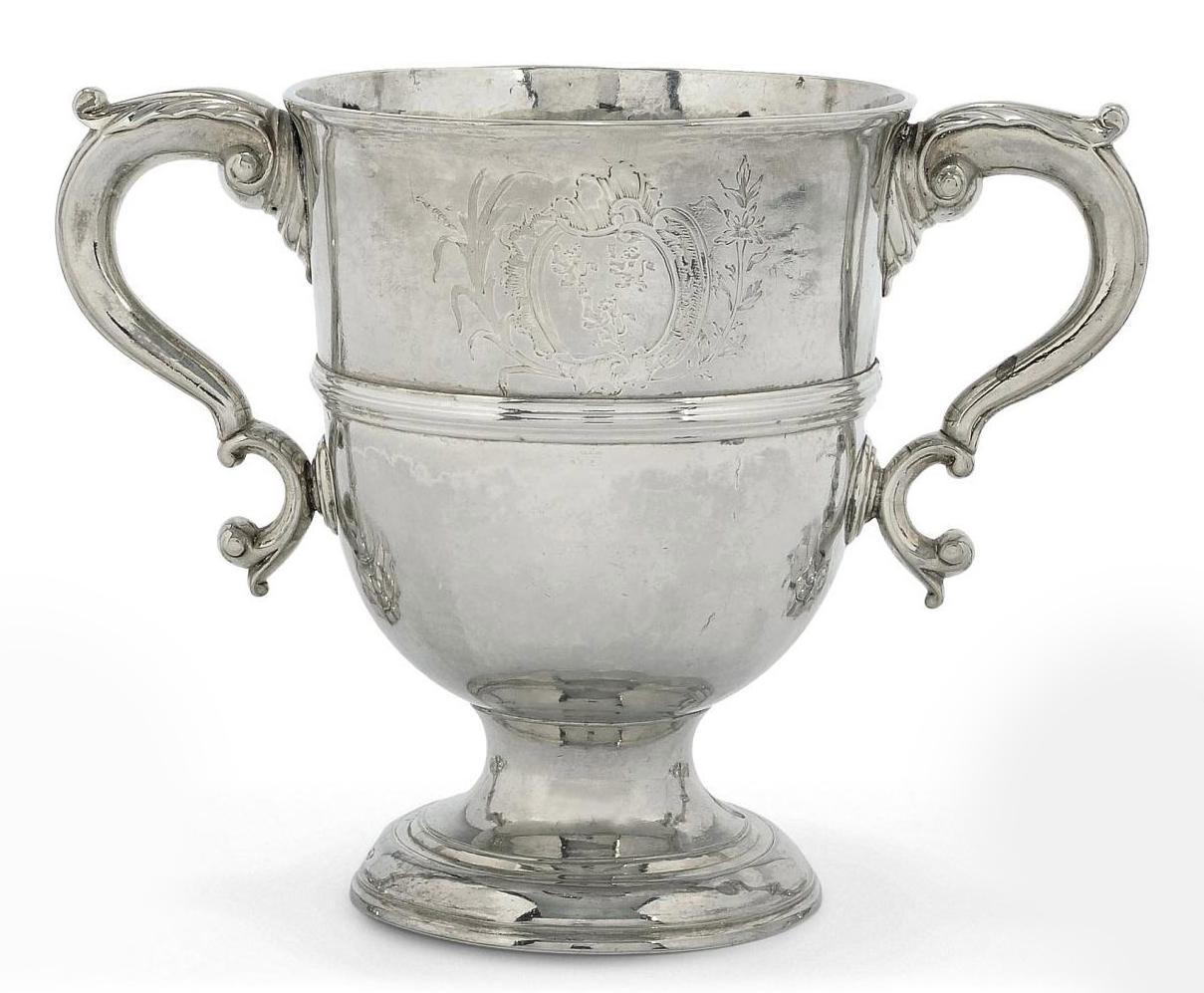A GEORGE II IRISH SILVER TWO-HANDLED CUP