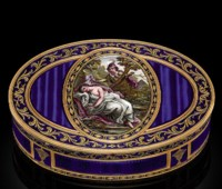 A FRENCH ENAMELLED GOLD SNUFF-BOX