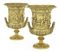 A PAIR OF GEORGE III SILVER WINE-COOLERS