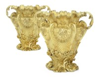 A PAIR OF GEORGE IV SILVER-GILT WINE-COOLERS AND LINERS