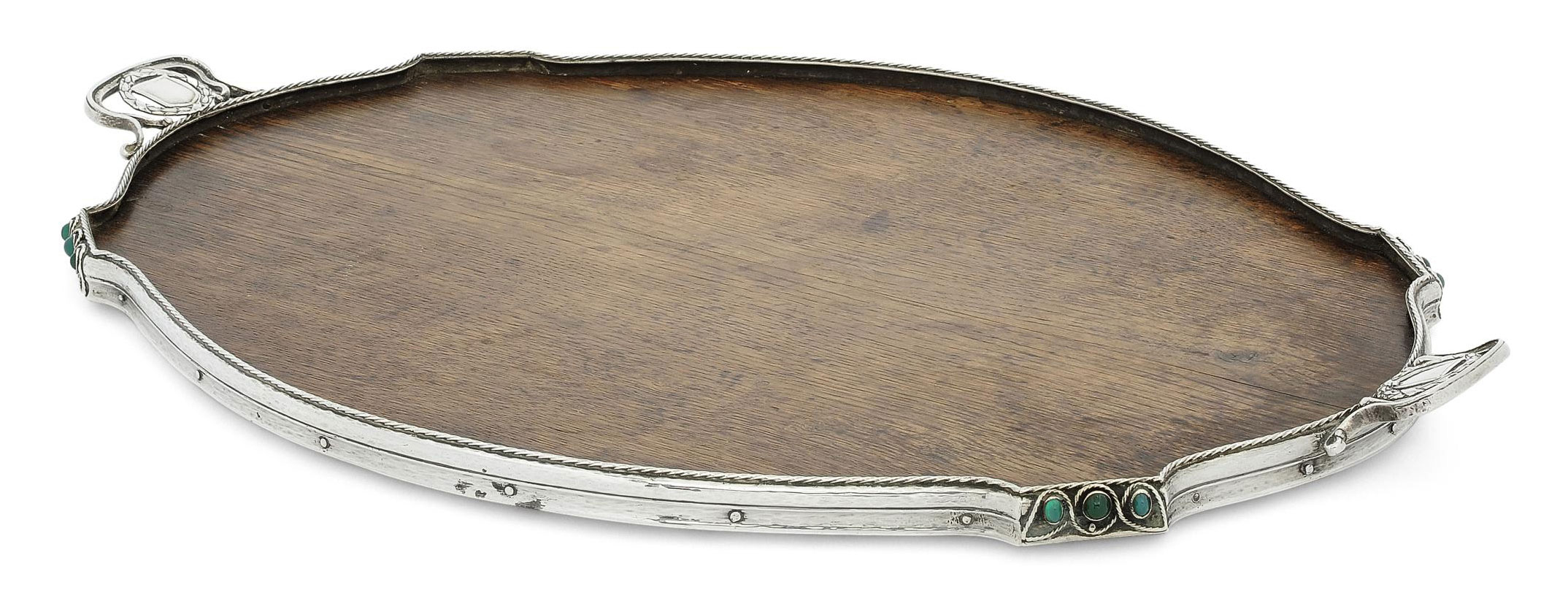 A GEORGE V SILVER AND 'GEM'-STONE MOUNTED WOOD TRAY