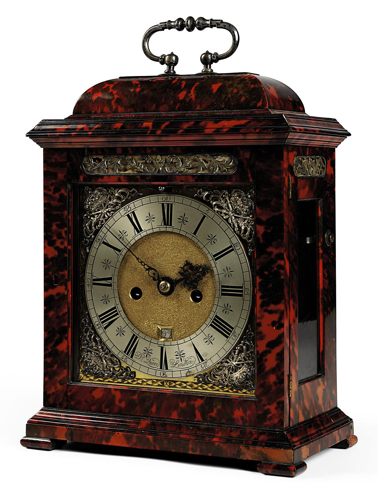 A WILLIAM AND MARY SILVER-MOUNTED RED TORTOISESHELL STRIKING TABLE CLOCK
