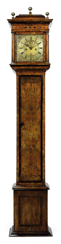 A WILLIAM AND MARY WALNUT STRIKING MONTH-GOING LONGCASE CLOCK