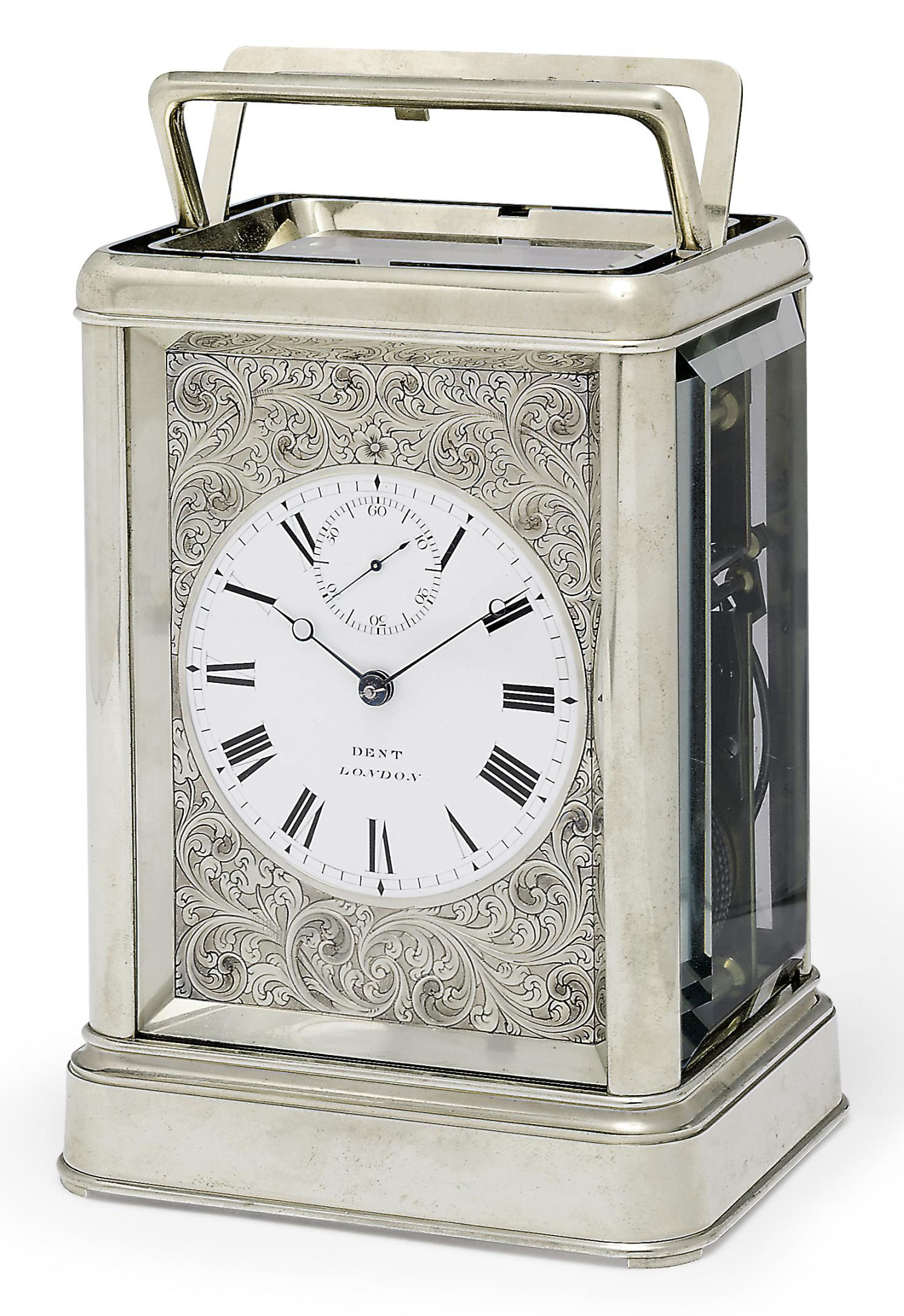 A VICTORIAN GIANT NICKEL QUARTER-STRIKING EIGHT DAY CHRONOMETER CARRIAGE CLOCK WITH DENT'S STAPLE BALANCE AND SPLIT HANDLE