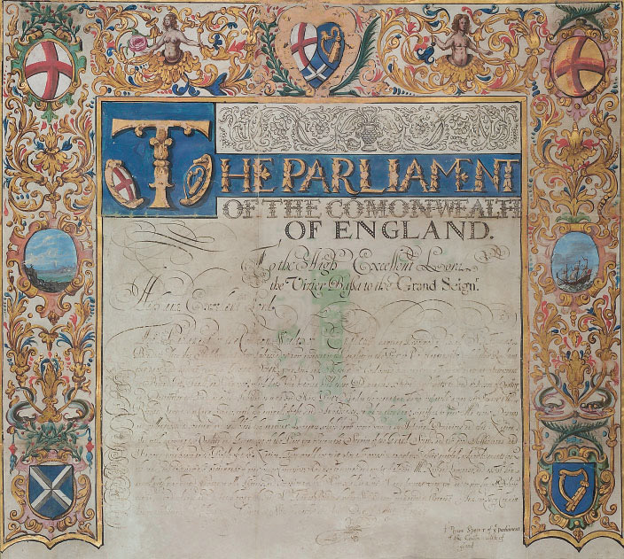 COMMONWEALTH OF ENGLAND. Two documents on vellum, illuminated letters patent signed by Francis Rous as 'Speaker of the Parliament of the Commonwealth of England' addressed to 'The High and Mighty Emperour Sultan Mahomet Han [Mehmed IV (1641-1692)] Chiefe Lord & Commander of the Mussulman Kingdom, Sole & Supream Monarch of the Eastern Empire' and 'To the High Excellent Lord, the Vizier Bassa to the Grand Seign[eur]' [the Grand Vizier, Koca Dervish Mehmed Pasha], Westminster, 31 August 1653, letters of credential of Richard Lawrence as 'caya' (agent) at the Sublime Porte, the ambassador, Sir Thomas Bendish, 2nd Bart, being recalled and his replacement not yet ready to depart from London; Lawrence will 'signifie unto you that They [the Parliament] being by the Providence of GOD devolved into, and setled in the forme of a Common-Wealth, are desirous to Mantayne and conserve the Amitie, and good Correspondency, with mutuall Trade and Commerce which hath been so long time continued between [
