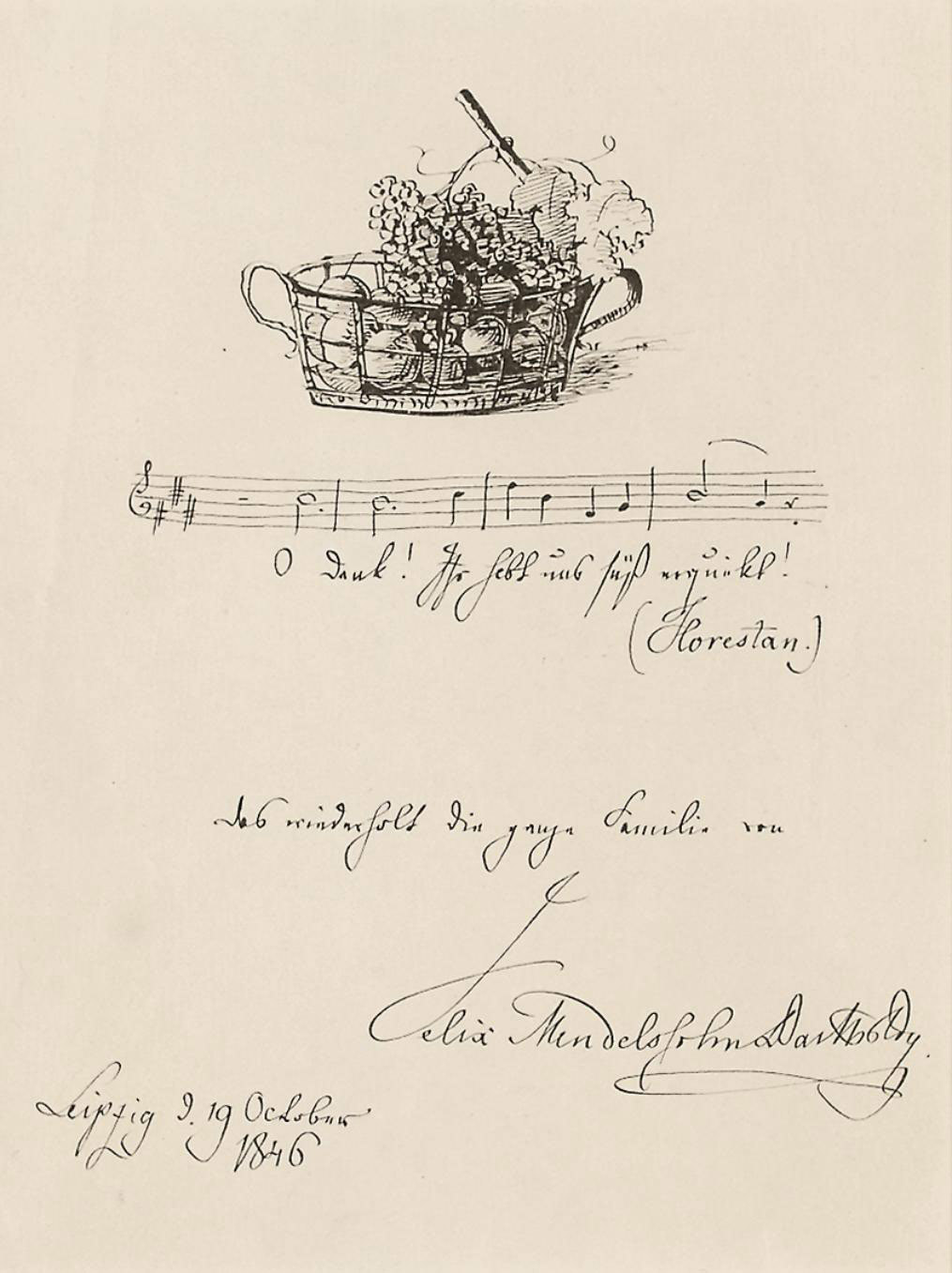 MENDELSSOHN-BARTHOLDY, Felix (1809-1847). Autograph musical quotation, four bars in a single stave from Beethoven's Fidelio, 'O Dank! Ihr habt uns süß erquickt!', signed and subscribed 'Das wiederholt die ganze Familie von Felix Mendelssohn Bartholdy' and ILLUSTRATED WITH A DRAWING OF A BASKET OF FRUIT, Leipzig, 19 October 1846, one page, 4to (175 x 135mm), framed and glazed.