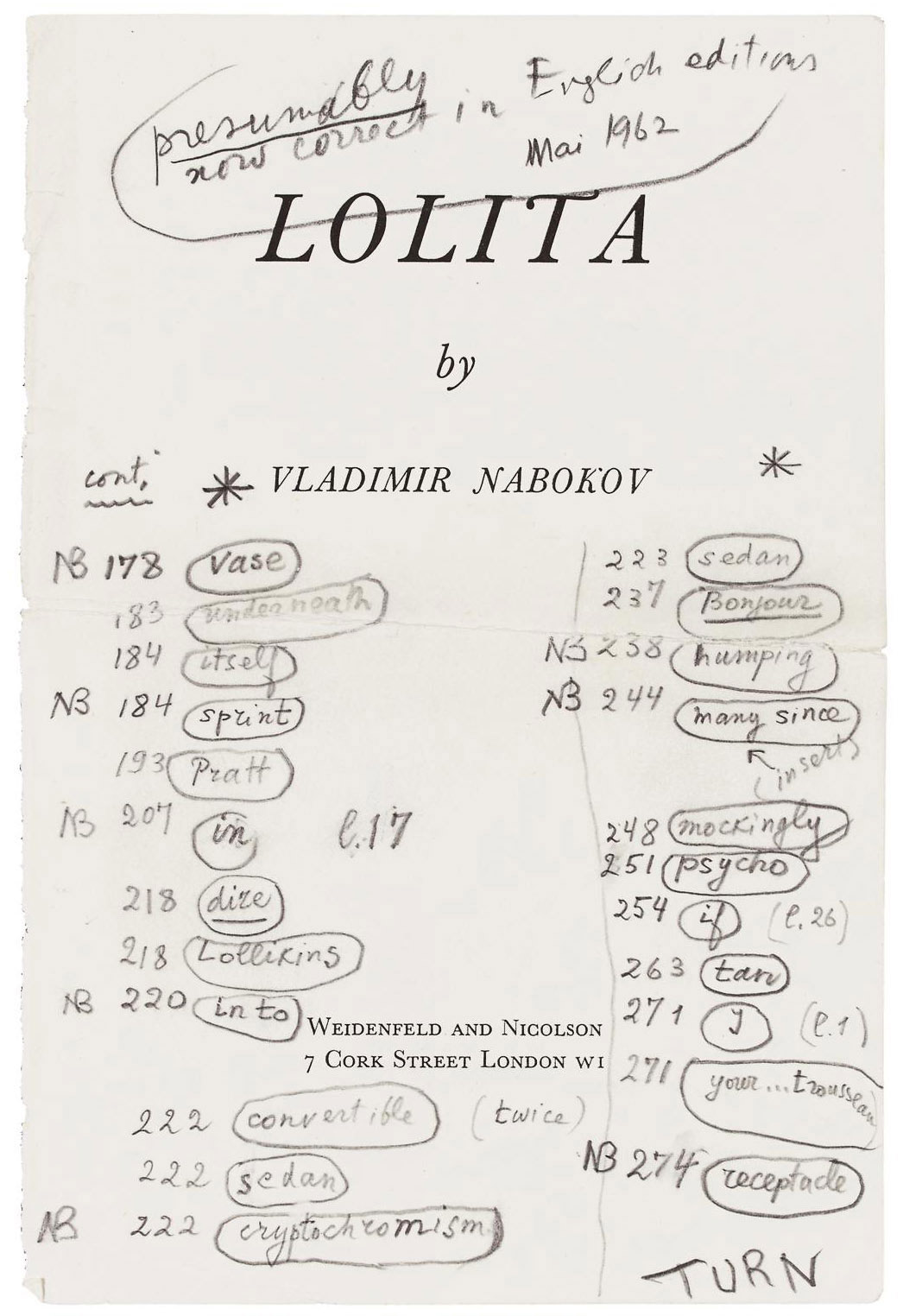 NABOKOV, Vladimir (1899-1977). Autograph list of errata for the first English edition of Lolita, 59 words or phrases with page numbers, 21 marked 'NB', meaning 'Especially bad', in pencil and pen on half-title and title extracted from the same edition (London: Wiedenfeld and Nicolson, 1959), the latter annotated 'presumably now correct in English editions, Mai [sic] 1962', 2 leaves, 8vo, with two typescript lists of corrections; with Nabokov's copy of the Corgi edition (6th English printing, 1961), with a single emendation (of a comma), to p.41. Provenance: by descent from Vladimir Nabokov.