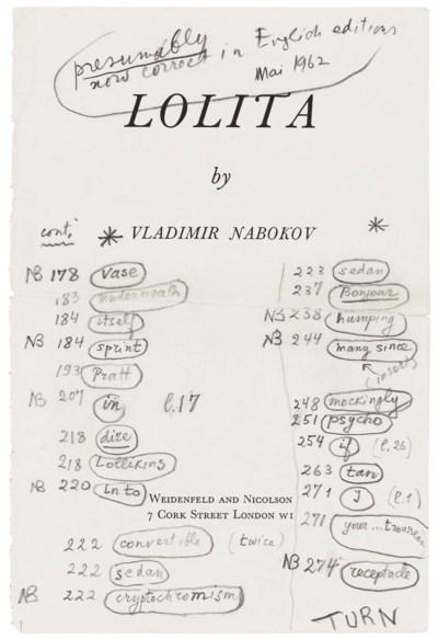NABOKOV, Vladimir (1899-1977). Autograph list of errata