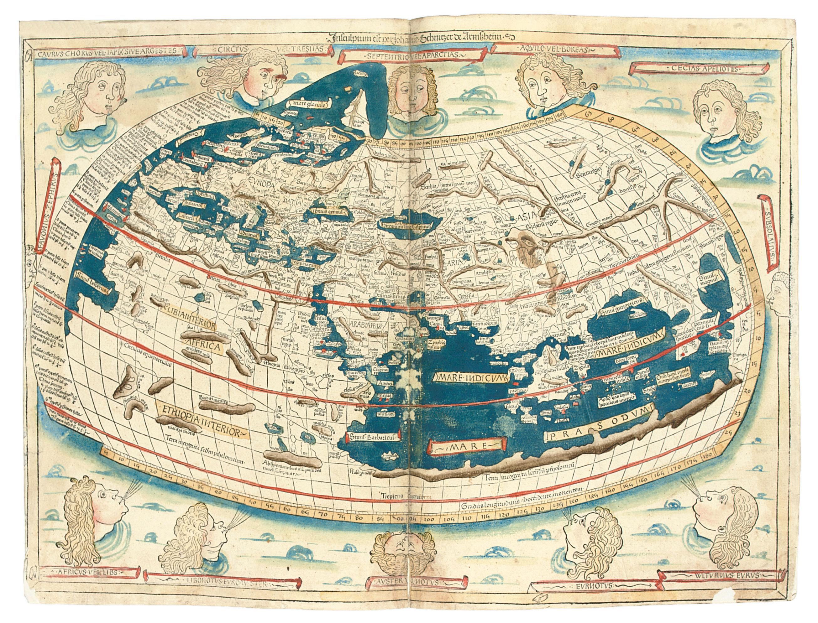 PTOLEMAEUS, Claudius (2nd century). Cosmographia. Translated from Greek into Latin by Jacobus Angelus (fl. early 15th century). Edited by Nicolaus Germanus (c.1420-c.1490). Ulm: Lienhart Holle, 16 July 1482.