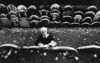 John Piper in the churchyard of St Anne's, Limehouse, early 1960s