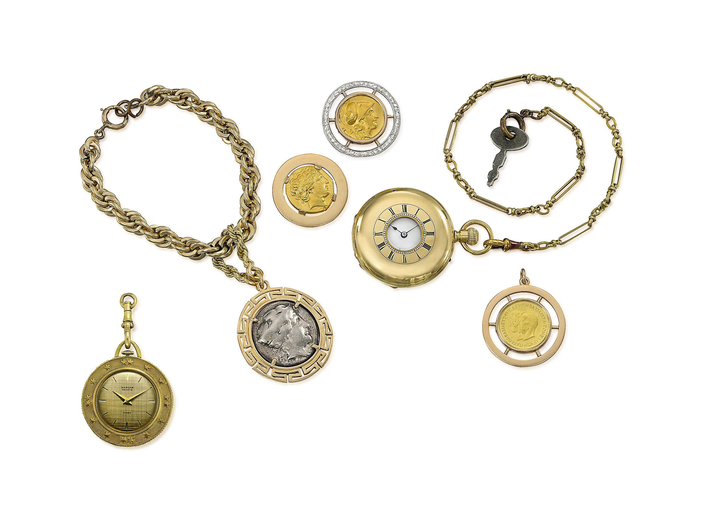 A GROUP OF COIN JEWELLERY AND A WATCHES