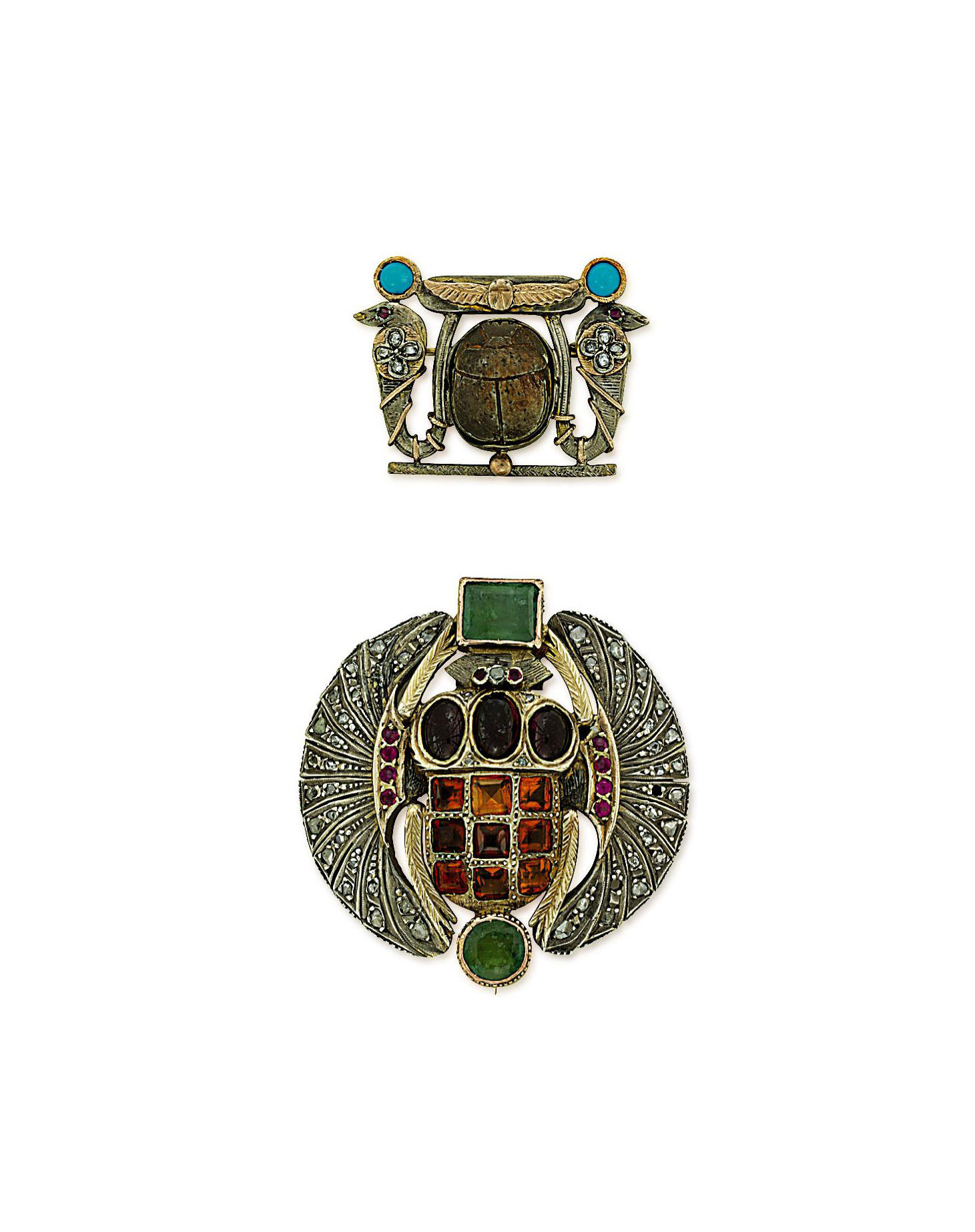 TWO GEM-SET EGYPTIAN REVIVAL BROOCHES