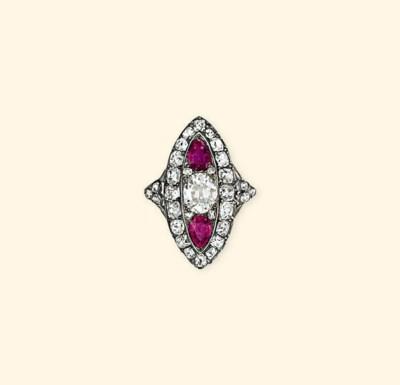 AN ANTIQUE DIAMOND AND RUBY RI