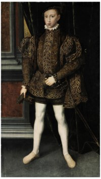 Portrait of King Edward VI (1537-1553), full-length, in a brown doublet with gold embroidery, a glove in his right hand, wearing a sword