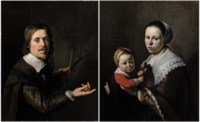 Portrait of Gijsbert Gillisz. de Hondecoutre (1604-1653), half-length, holding a palette and brushes; and Portrait of his wife Maria Hulstman, half-length, holding a child