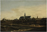 A view of Haarlem from the northwest corner with the Kruispoort and St. Bavo's Cathedral beyond