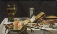 Two peaches, a watch, a roemer filled with wine, a salt cellar, books and chestnuts on a draped table