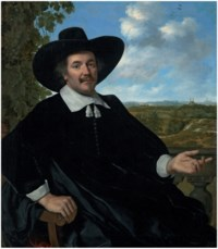 Portrait of a gentleman, three-quarter-length, seated, before a balustrade, a landscape with a country house and a distant view of Haarlem beyond