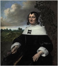 Portrait of a lady, three-quarter-length, seated, before a balustrade, holding a fan, a landscape with bleaching fields and a view out to sea beyond