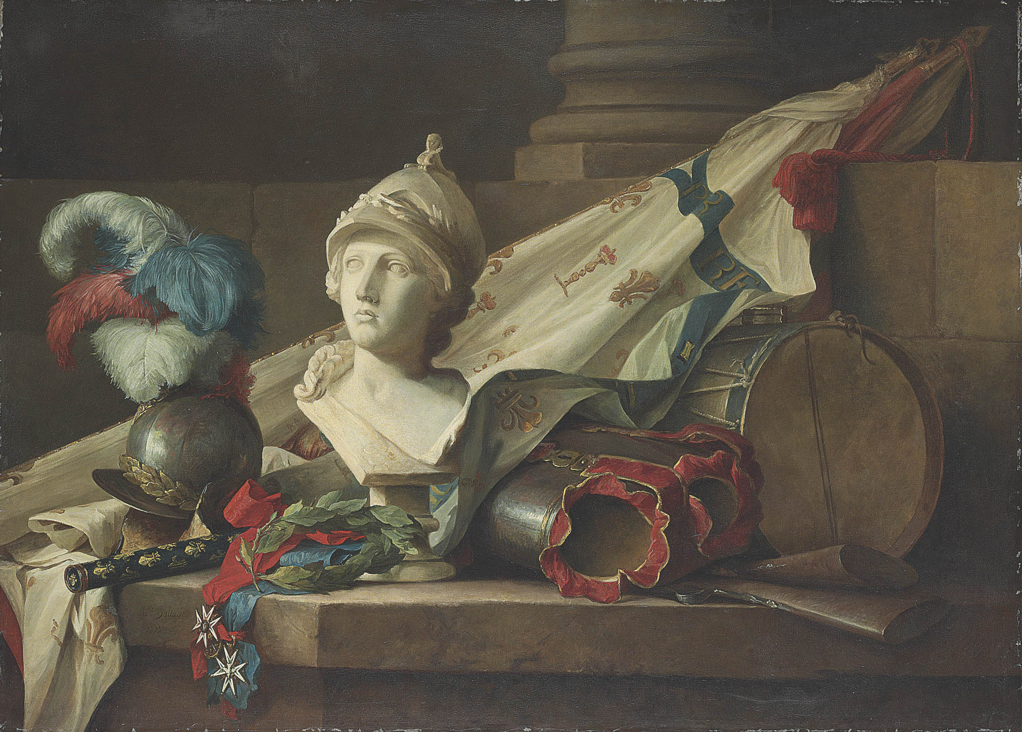 A bust of Minerva, armour, muskets, a drum, a standard, the baton of command of a Maréchal de France, a laurel wreath and the Orders of Saint-Louis and of the Saint-Esprit, all on a stone ledge